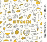 seamless pattern with kitchen... | Shutterstock .eps vector #224318851
