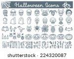 big set of halloween line icons ...   Shutterstock .eps vector #224320087