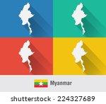 myanmar burma map in flat style ...