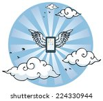 flying smart phone with wings... | Shutterstock .eps vector #224330944