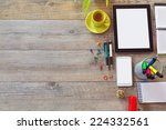 office desk background with... | Shutterstock . vector #224332561