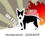 Ghetto background with dog. Vector illustration. - stock vector
