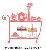 girly tea cart  princess style | Shutterstock .eps vector #224359957