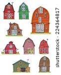 set of vintage barns   cartoon   Shutterstock .eps vector #224364817
