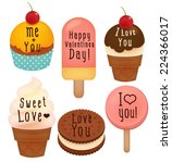 set of valentine's day  card  ... | Shutterstock .eps vector #224366017
