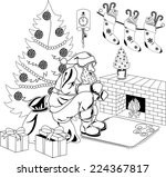 santa claus sitting by the fire ... | Shutterstock .eps vector #224367817