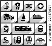 Transport Black Icons On White...