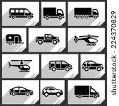 transport black icons on white... | Shutterstock .eps vector #224370829