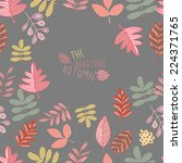 pattern with floral and acorns... | Shutterstock .eps vector #224371765