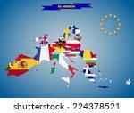 combined flag maps of european... | Shutterstock . vector #224378521