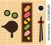 sushi set  vector   Shutterstock .eps vector #224380189