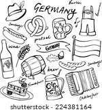 germany icons doodle set | Shutterstock .eps vector #224381164