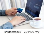 man doing online shopping with...   Shutterstock . vector #224409799