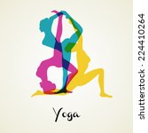 vector illustration of yoga... | Shutterstock .eps vector #224410264