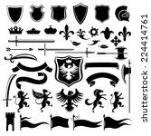 heraldic medieval vintage set... | Shutterstock .eps vector #224414761
