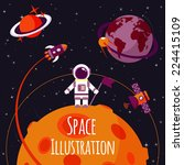 space concept with astronaut on ... | Shutterstock .eps vector #224415109