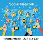 social media network concept... | Shutterstock .eps vector #224415139