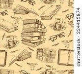 Vintage Books Sketch Seamless...