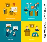 public speaking flat icons set... | Shutterstock .eps vector #224418229