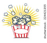 illustration popcorn in striped ... | Shutterstock .eps vector #224421355