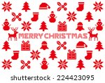 christmas card. nordic pattern... | Shutterstock .eps vector #224423095
