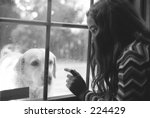 girl and dog at the window | Shutterstock . vector #224429