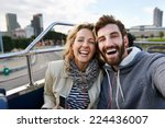 Tourist Couple Travel Selfie On ...