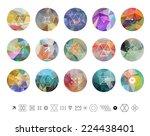 Set Of Colored Geometric...