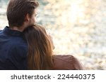 back light of a couple hugging... | Shutterstock . vector #224440375