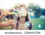 beautiful young woman with... | Shutterstock . vector #224441539