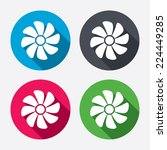 Ventilation sign icon. Ventilator symbol. Circle buttons with long shadow. 4 icons set. Vector