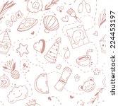 cute seamless cartoon pattern... | Shutterstock .eps vector #224453197
