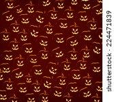 halloween pumpkin faces pattern ... | Shutterstock . vector #224471839