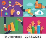 hands holding various objects... | Shutterstock .eps vector #224512261