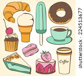 vector set of decorative sweet... | Shutterstock .eps vector #224513677
