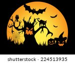 full moon halloween night with... | Shutterstock . vector #224513935