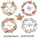 Set Of Four Flower Wreaths