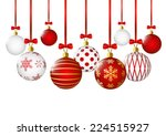 christmas balls on white... | Shutterstock .eps vector #224515927