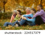 walk a large family in the... | Shutterstock . vector #224517379