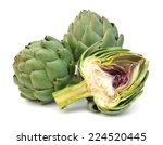 Two Fresh Artichokes With Stem...