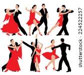 set of dancing people... | Shutterstock .eps vector #224522257