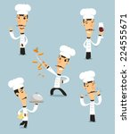 chef cook set  with pan  bowl ... | Shutterstock .eps vector #224555671