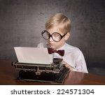Boy With The Typewriter. Retro...