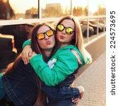 close up fashion portrait of... | Shutterstock . vector #224573695