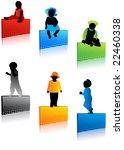 kids silhouettes   Shutterstock .eps vector #22460338