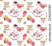 teatime   teapot  tea cup ... | Shutterstock . vector #224610289