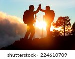 hiking people reaching summit... | Shutterstock . vector #224610709