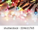 closeup of christmas lights... | Shutterstock . vector #224611765