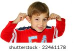 Boy making silly face - stock photo