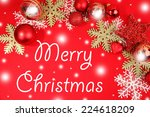 christmas decorations on red... | Shutterstock . vector #224618209